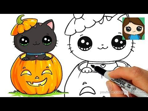 How to Draw a Kitten for Halloween Easy , YouTube