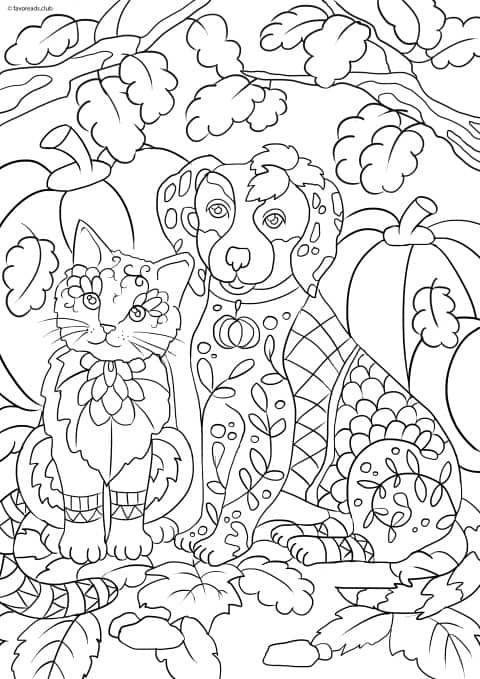 Cats And Dogs Cat And Dog Dog Coloring Book Cat Coloring Page