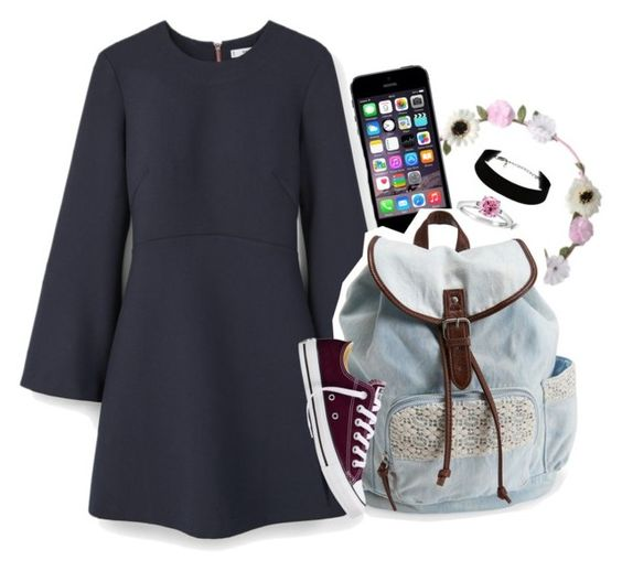 """""""-walks into school-"""" by caligirl199 ❤ liked on Polyvore featuring BERRICLE, MANGO, Aéropostale and Converse"""