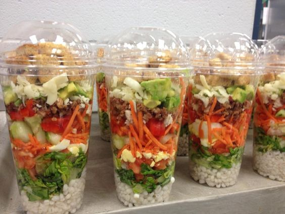 Cobb Shaker Salads served at Needham High School in Needham MA. Layers ...