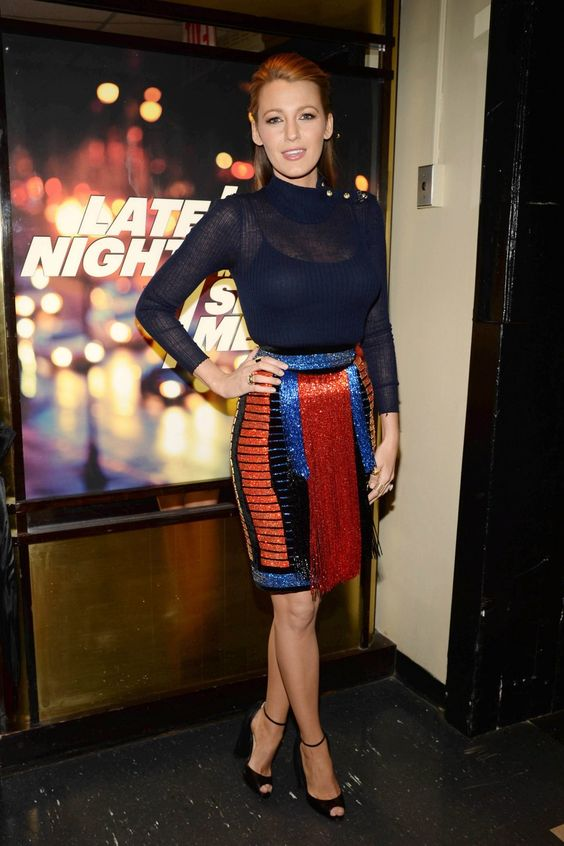Blake Lively wearing Balmain Fall 2015 Skirt, Balmain Fall 2015 Sheer Sweater and Christian Louboutin Otrot Fringe Sandals: