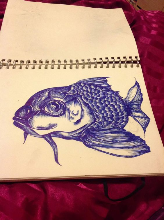 Sketch book fish cross hatch art