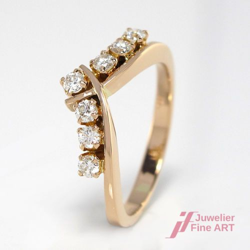 Ring Mit 7 Diamanten Ca 0 35 Ct Tw Vsi In 18k 750 Rotgold Gr 51 3 0 G Rings Hand Rings Engagement Rings