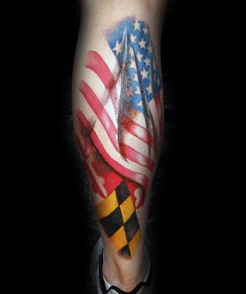 50 Maryland Flag Tattoo Ideas For Men State Flag Designs In 2020 Maryland Flag Flag Tattoo Tattoos