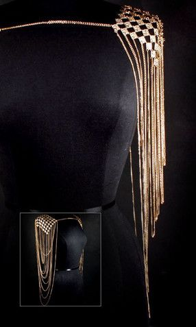 'GODDESS' SHOULDER ARMOUR BODY CHAIN - GOLD