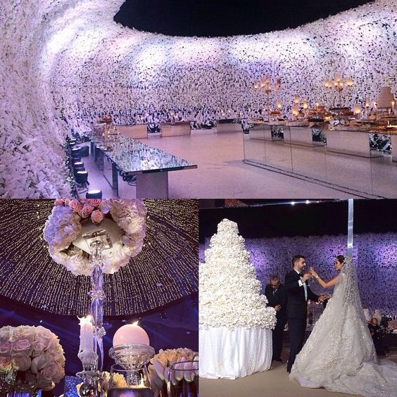 "@thebridestory's photo: ""Spectacular wedding of a Lebanese blogger, Lana El Sahely @larmoiredelana; jaw dropping flower walls covering the venue, flower centrepiece, lighting decoration on the ceiling and the bride is wearing @eliesaabworld wedding dress. Major love?"""