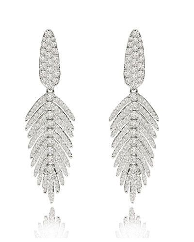 18K White Gold & Diamond Feather Drop Earrings