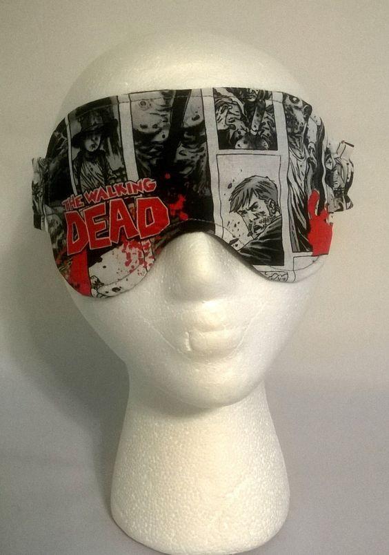 Walking Dead Sleep Mask, spa mask, eye sleep mask, travel mask, beauty sleep, cotton, foldover elastic, fleece, flannel, geekery, zombie by KrissysCraftyKitsch on Etsy