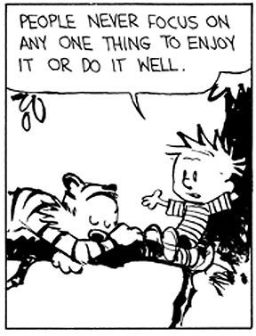 Calvin and Hobbes - People never focus on any one thing to enjoy it or do it well.