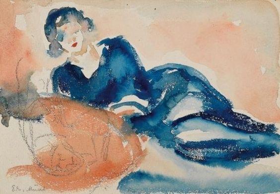 Edvard Munch. Femme allongée. Crayon et aquarelle sur paier: