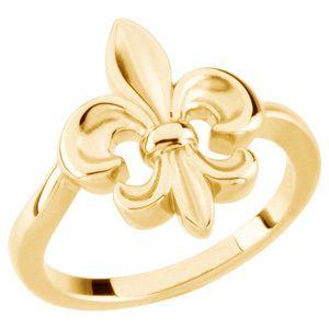 14K yellow gold fleur de lis ring - I love this ring!