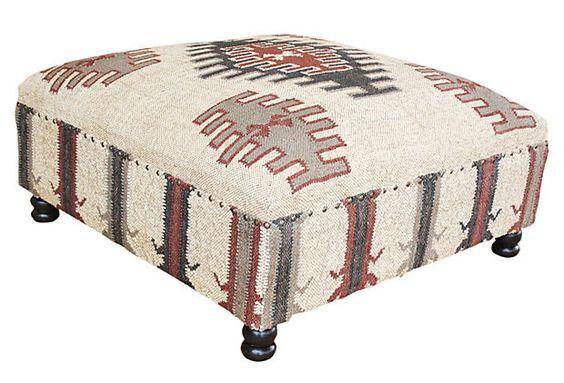 Bellamy Kilim Upholstered Ottoman on OneKingsLane.com
