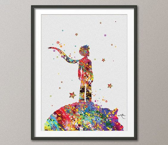 Watercolour wall decor and the little prince on pinterest Decoration le petit prince