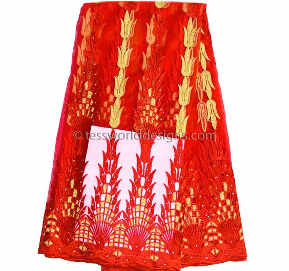 NL04- Wedding net Lace fabric, Red and metallic Gold 5 yards