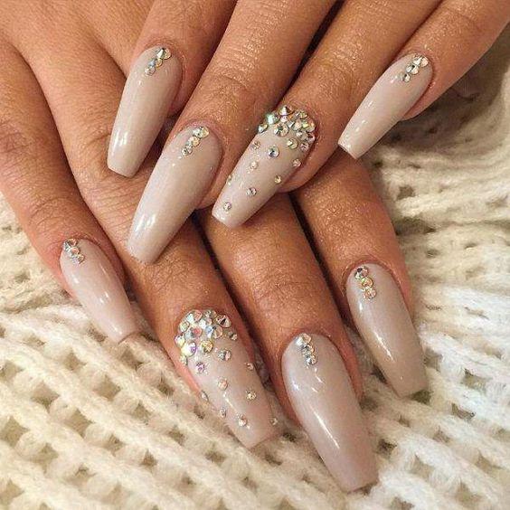 studded nude ballerina nails bmodish #coffinNail