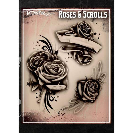 Airbrush tattoo pro stencil rose 39 s and scrolls tatoo for Spray on tattoo stencils
