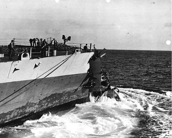 Washington bow damage after collision with Indiana, 1944