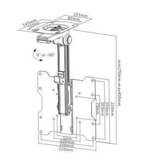 "17""-37"" XL Under Cabinet Cupboard Ceiling Flip Kitchen LCD/ LED TV Bracket Mount 2"