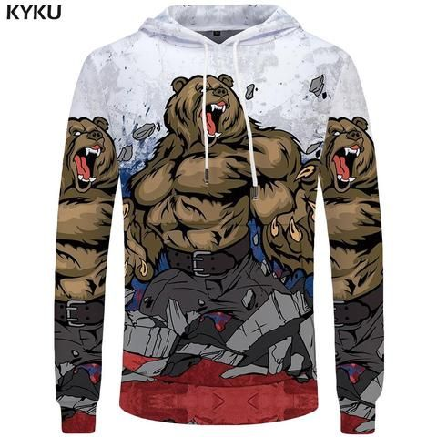 KYKU Unisex Funny 3D Hoodies Pullover Hooded Sweatshirt with Pockets Long Sleeve