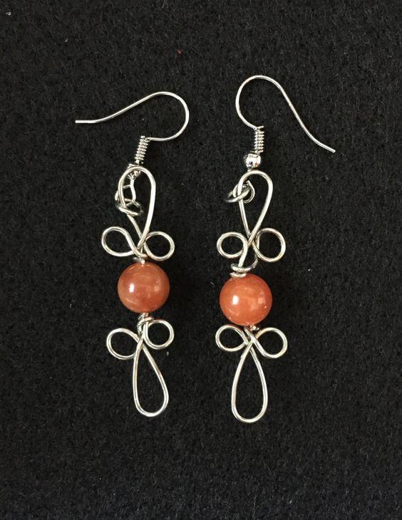 Wire and Carnelian Earrings by BoomChakraLaka on Etsy
