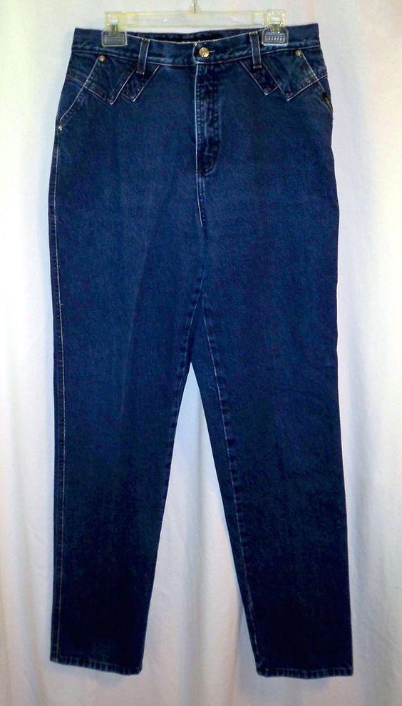 Rockies High Waist Tapered Leg Western Rodeo Denim Blue Jeans Slim Long Sz 13/14 #Rockies #Rodeo