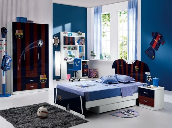 Design For Boys: Cool Boys' Room Decorating Concepts: Masculine Barca Jersey In Boys Bedroom On The Bed And Wardrobe Completed With Comfy Bed And Ergonomic Desk Covered In White And Blue Room Color ~ laurieflower.com Childrens Bedroom Inspiration