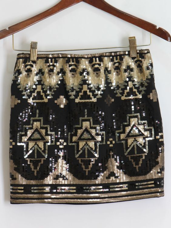 Black and Gold Sequin Aztec Skirt $48 Aztec print embellished sequin skirt! Spandex band for a fit that perfectly hugs your body.:
