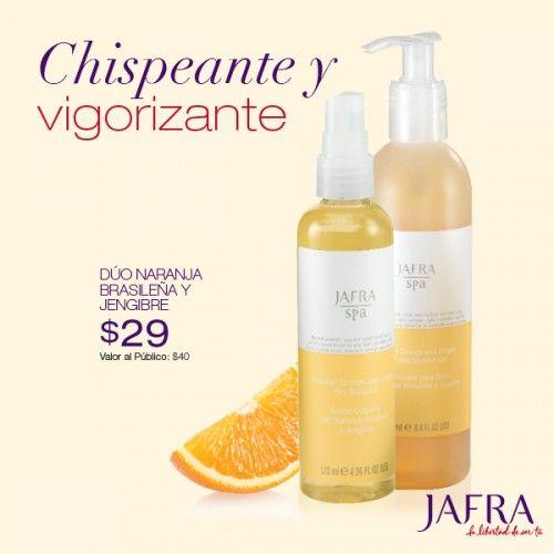 Inicia tu día con energía estimulando tus sentidos con naranja brasileña y jengibre. Adquiere ambos productos por $29 por tiempo limitado. http://jafra.me/3b5r