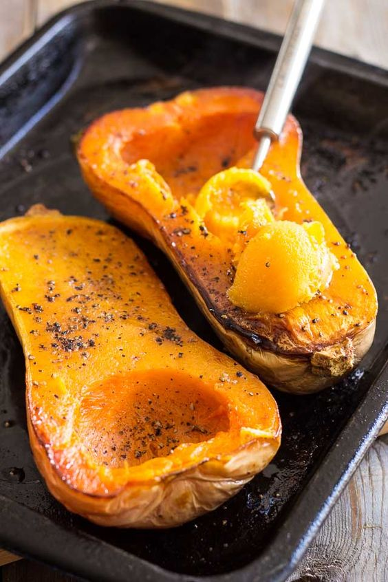 For a light lunch, try this quick and easy oven roasted Butternut Squash.
