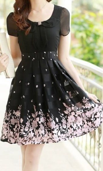 Short Sleeve Floral Print Chiffon Dress