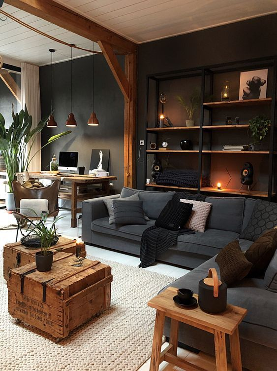 Masculine Industrial Living Room With A Wall Mounted Shelving Unit Masculine Living Rooms House Interior Home Living Room