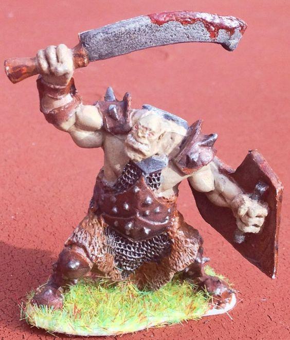 Custom Painted Orc Marauder (Sword and Shield) Bones Miniature