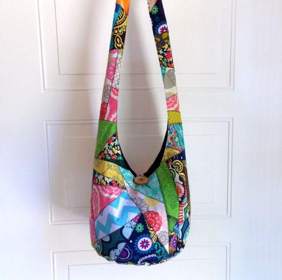 Hobo Bag Patchwork Crazy Quilt Sling Bag Bright by 2LeftHandz, $40.00