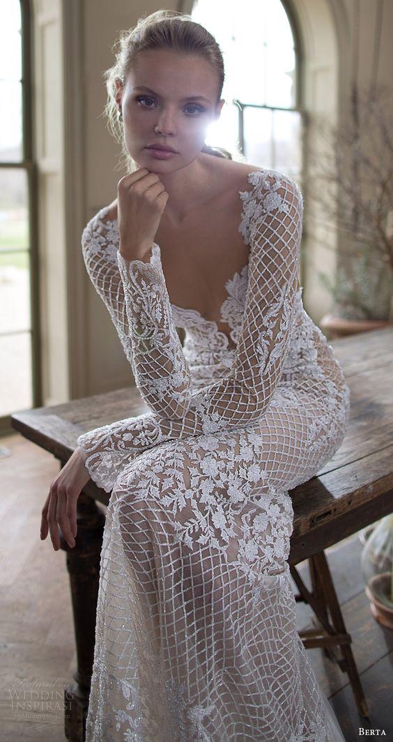 long sleeves sweetheart beaded sheath wedding dress