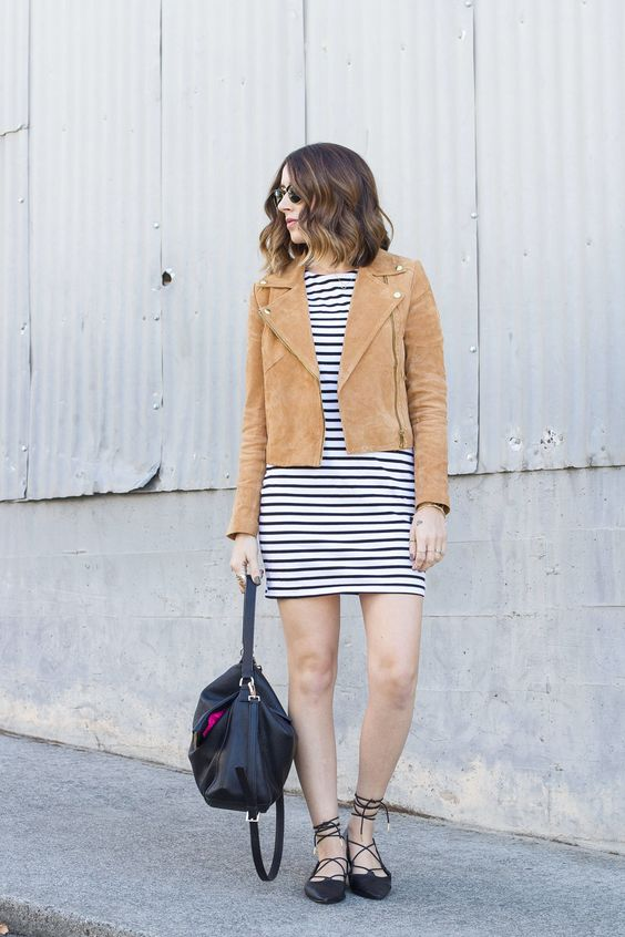 fall outfit: black and white striped dress, tan suede jacket, lace-up flats