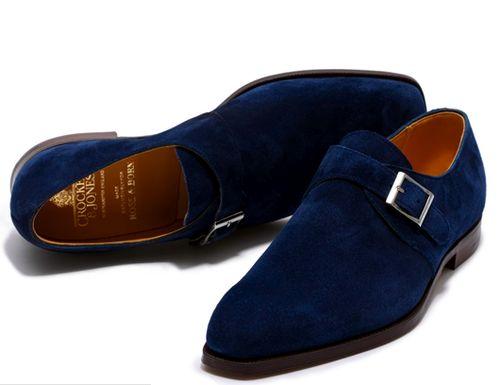Crockett & Jones Blue Suede Monk Strap Shoes. Men's Fall Winter Fashion.