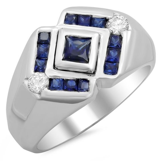 Artistry Collections 14k White Gold Men's 1/4ct TDW Diamond and 1 1/3ct Sapphire Ring