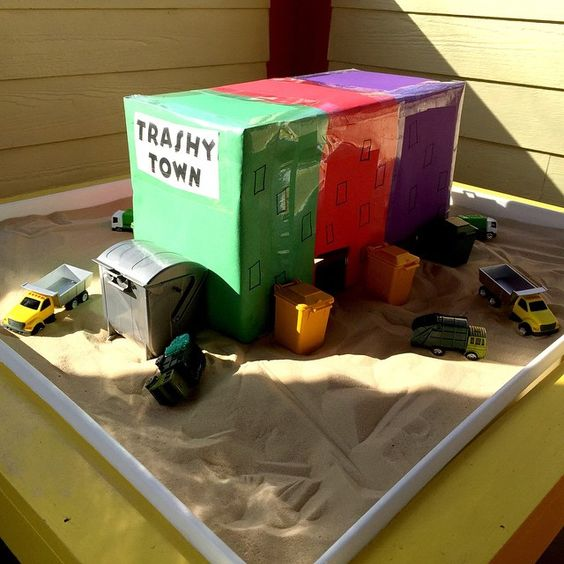 Trashy Town! Photo credit @Teach_Preschool.                                       Gloucestershire Resource Centre http://www.grcltd.org/scrapstore/