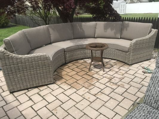 Broyhill Capilano Curved All Weather Wicker Patio Sectional Sofa Big Lots In 2020 Patio Sectional Curved Patio Wicker Patio Sectional
