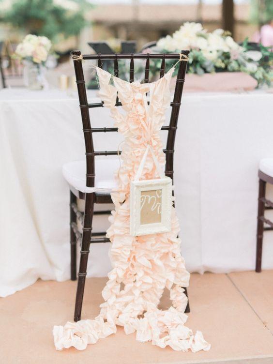 Lovely wedding reception chair decor; photo: Honey Honey Photography