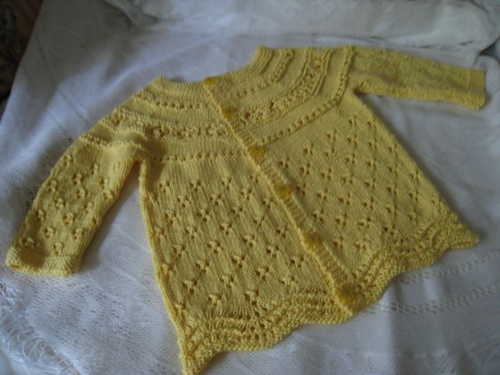 """Baby sweater: a gift for a friend.  I call this one the """"lemon drop"""""""