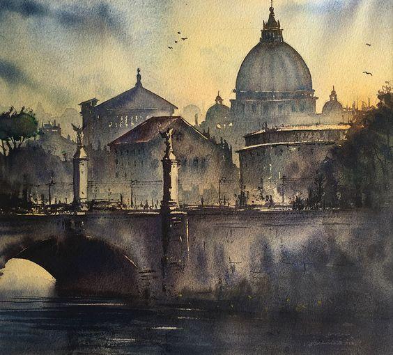 Rome watercolor art print by SenyavasArt on Etsy