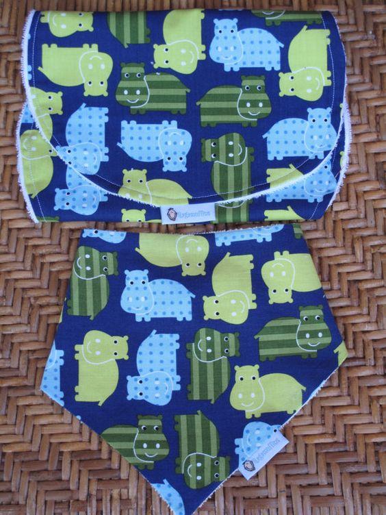 Baby Bandana Bib and Burp Cloth  Drool bib and by RagamuffinsandCo