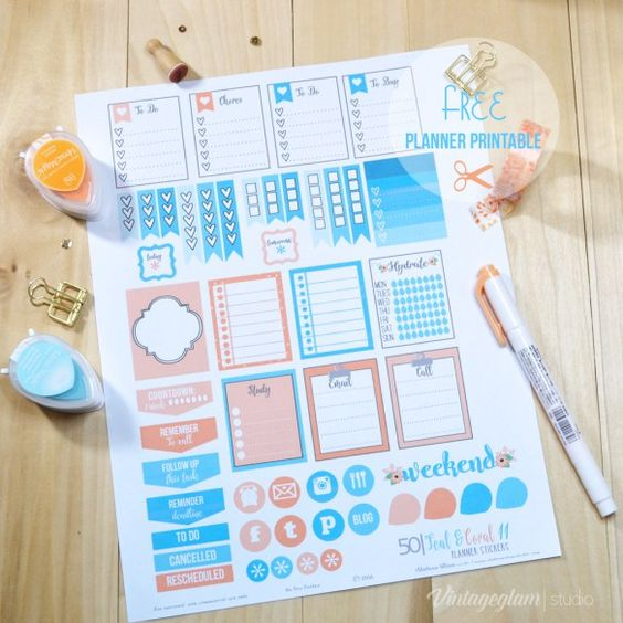 Teal & Coral Planner Stickers | Free Printable, for personal use