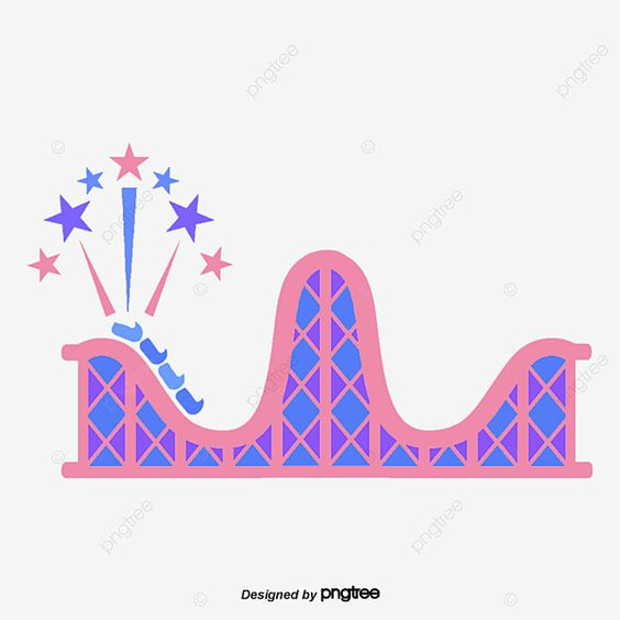 Cartoon Flattened Blue Pink Roller Coaster Element Stimulate Cartoon Png Transparent Clipart Image And Psd File For Free Download Cartoons Png Clip Art Watercolor Background