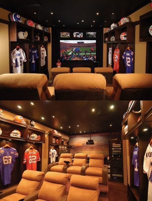 Man Cave Ideas Football : Football home theatre man cave ideas