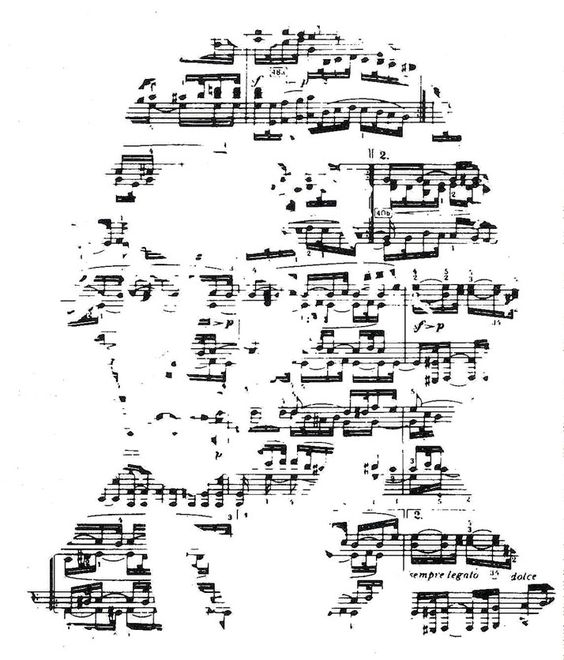 John Lloyd. An identity for a Beethoven music festival at London's Barbican Centre. The portrait of the composer is created from one of his scores. 1983.