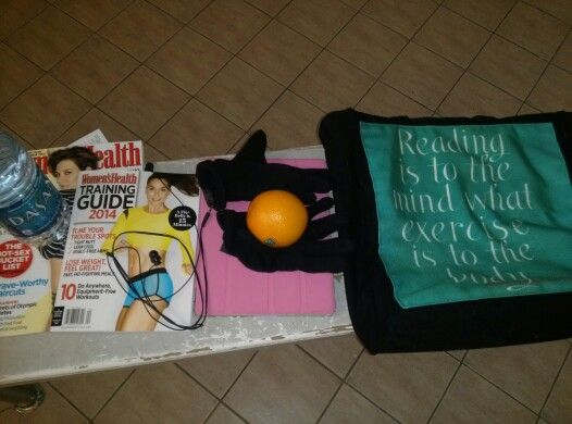 Lol my bag. Womens health. A training book. Wayer. Headphones. Ipad. Orange. And of course gloves because its korea