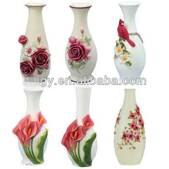 flower vase handicraft description:   1,Material :polyresin 2,Color :can make any color on it . 3,craft:emboss with hand-painted . 4,size and color can be customized according to customers requirements