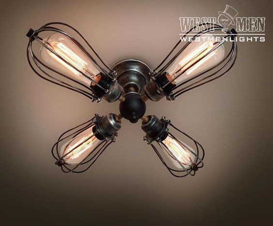 Westmenlights Dining Industrial Cage Ceiling Light Kitchen